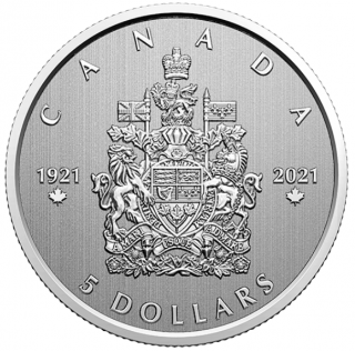 2021 - $5 - 1/4 oz. Pure Silver Coin - Moments to Hold: 100th Anniversary of the Arms of Canada