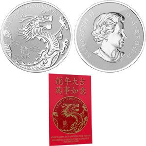 2012 - $10 - Year of the Dragon - Fine Silver Coin 99.99%