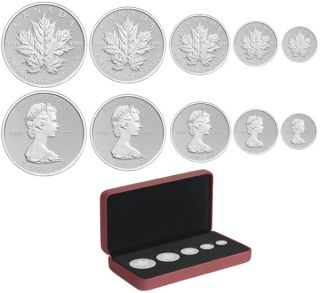 2013 - Fine Silver Maple Leaf - 25th Anniversary Fractional Set