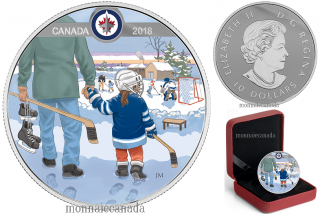 2018 - $10 - Pure Silver Coloured Coin - Learning to Play: Winnipeg JetsTM