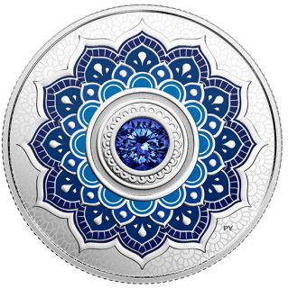 2018 - $5 - September Birthstone - Pure Silver Coin made with Swarovski® Crystal