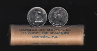 1967 Canada 5 Cents - Roll 40 Coins - Original Wrap - B.UNC