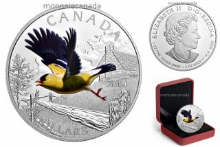 2016 - $20 - Pièce colorée de 1 oz en argent pur – Oiseaux colorés du Canada : Le chardonneret jaune