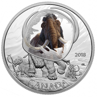 2018 - $20 - 1 oz. Pure Silver Coloured Coin – Frozen in Ice: Woolly Mammoth