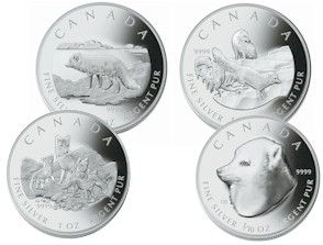 2004 Arctic Fox Proof Set of 4 Silver Coins .9999 Fine (1oz - 1/10oz)