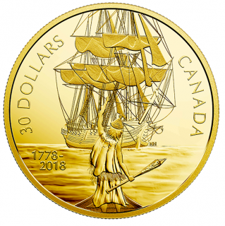 2018 - $30 - 2 oz. Pure Silver Gold-Plated Coin - Captain Cook and the HMS Resolution