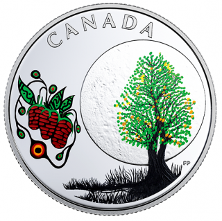 2018 - $3 - Pure Silver Coloured Coin - Thirteen Teachings From Grandmother Moon: Strawberry Moon