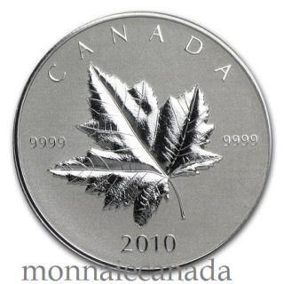 2010 - $5 -  Maple Leaf Fine Silver Coin - Piedfort - TAX Exempt