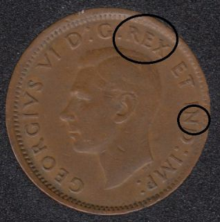 1943 - Double REX N - Canada Cent