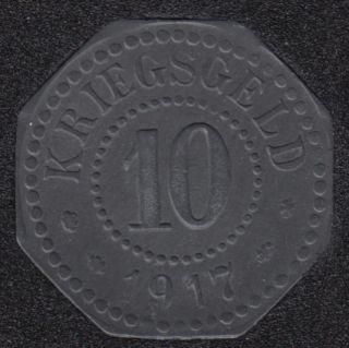 1917 - 10 Pfennig - Notgeld - Hamm. Stadt  Weestfalen - Allemagne