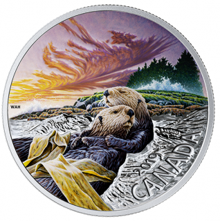 2019 - $20 - 1 oz. Pure Silver Coloured Coin - The Sea Otter: Canadian Fauna