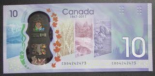 1867 2017 $10 Dollars UNC - Wilkins Poloz - Préfixe CDD