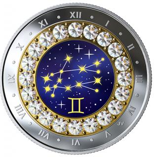 2019 - $5 - Gemini: Zodiac Series - Pure Silver Coin made with Swarovski® Crystals