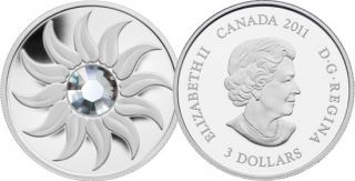 2011 - $3 - Fine Silver Coin - April Birthstone (Diamond)