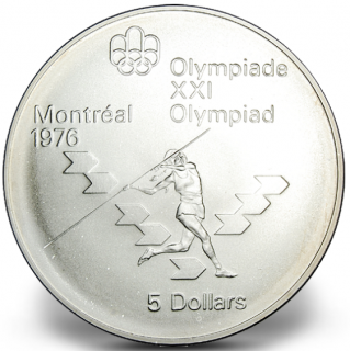 1976 - #16 (1975) - $5 - Sterling Silver Coin, Montreal Summer Olympic Games, Women's Javelin