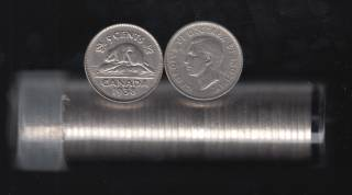 1938 Canada 5 Cents - Roll 40 Coins in Plastic Tube