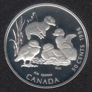1996 - Proof - Wood Duckling - Silver - Canada 50 Cents