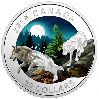 2018 - $20 - 1 oz. Pure Silver Coloured Coin - Geometric Fauna: Grey Wolves