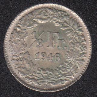 1946 B - 1/2 Franc - EF - Switzerland
