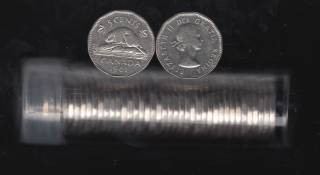 1961 Canada 5 Cents - Roll 40 Coins in Plastic Tube