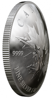 2018 - $250 - Pure Silver One-Kilogram Convex Coin - Maple Leaf Forever