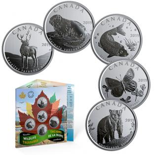 2019- 50¢ - Ensemble de cinq pièces - Trésors de la faune canadienne