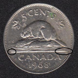 1968 - Ligne D'eau extra avant ou arriere - Canada 5 Cents