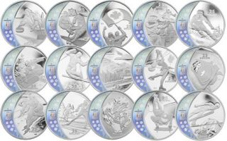 2007 - 2009 - 2010 -$25 - Vancouver Olympic Silver Hologram 15 Coin Series