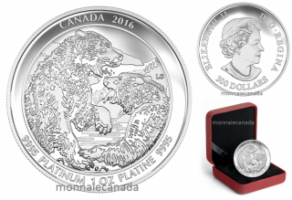 2016 - $300 - 1 oz. Pure Platinum Coin – Grizzly Bear: The Struggle