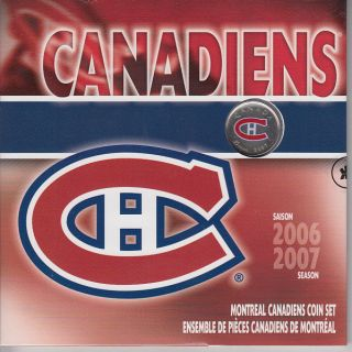 2006 2007 Season Montreal Canadiens Coin Set - 25 Cents Coloured