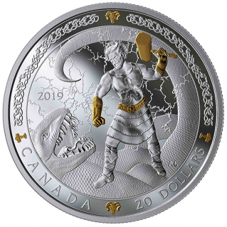 2019 - $20 - 1 oz. Pure Silver Gold-Plated Coin - Norse Gods: Thor