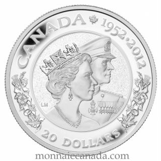 2012 - $20 - Silver Coin - The Queen's Diamond Jubilee - Queen Elizabeth II & Prince Philip