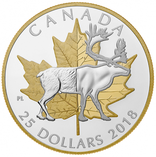 2019 - $25 - 1 oz. Pure Silver Gold Plated Piedfort - Timeless Icons: Caribou