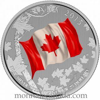 2015 - $25 Dollars - Pièce COLORÉE en argent fin - Le drapeau canadien