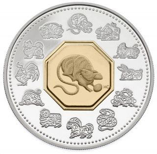 2008 $15 Dollars - Rat - Lunar Coin - Sterling Silver Gold-Plated