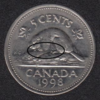 1998 - Bare Belly Beaver - Canada 5 Cents