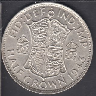 1943 - VF - Half Crown - Grande Bretagne