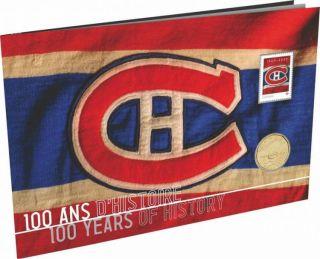 2009 Canada $1 Dollar Lacquée Montréal Canadiens NHL & Timbres 100ème Ann.