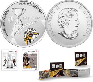2012 - The Hamilton Tiger-Cats - 25-Cent Coloured Coin and Stamp Set