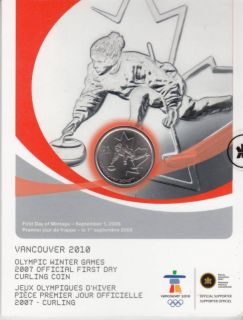 2007 - 25-cent Olympic winter official first day - curling