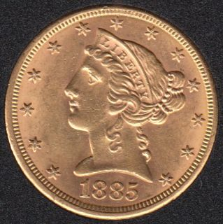 US 1885 Liberty Head $5 Dollars Half Eagle Gold Coin