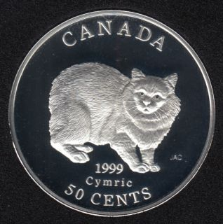 1999 - Proof - Cymric - Sterling Silver - Canada 50 Cents