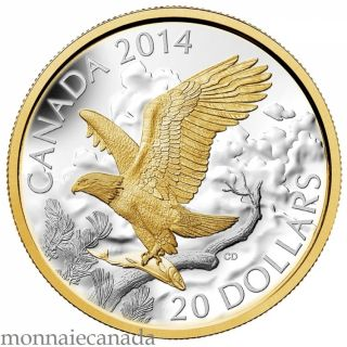2014 - $20 - 1 oz. Fine Silver Gold-Plated Coin - Perched Bald Eagle