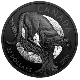 2018 - $20 - 1 oz. Pure Silver Coin - Nocturnal by Nature: The Cunning Cougar