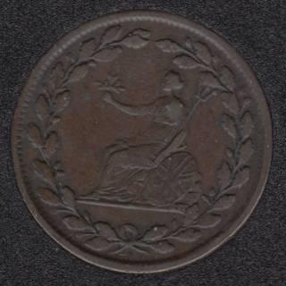 1813 - Rotated Dies - Bristish Copper Company - Galata Half PennyToken