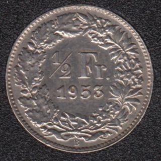 1953 B - 1/2 Franc - Polished - Switzerland