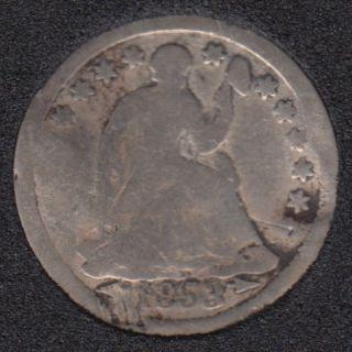1853 - Liberty Seated - Arrows - Endommagé - Half Dime