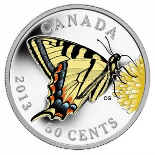 2013 - 50 Cents - Silver Plated Coin - Butterflies of Canada: Canadian Tiger Swallowtail