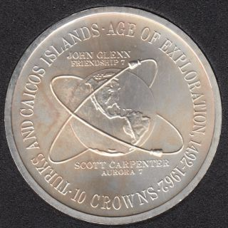 Turks and Caicos - 1975 - 10 Crown - Argent