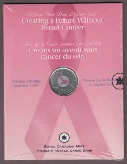 2006 Canada 25 Cents - Official First Day - Breast Cancer Pink Ribbon